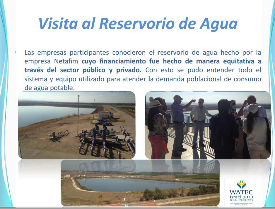 Ing Michael Frohlich de Ocean Business explica a delegados sobre el reservorio de agua en Magal